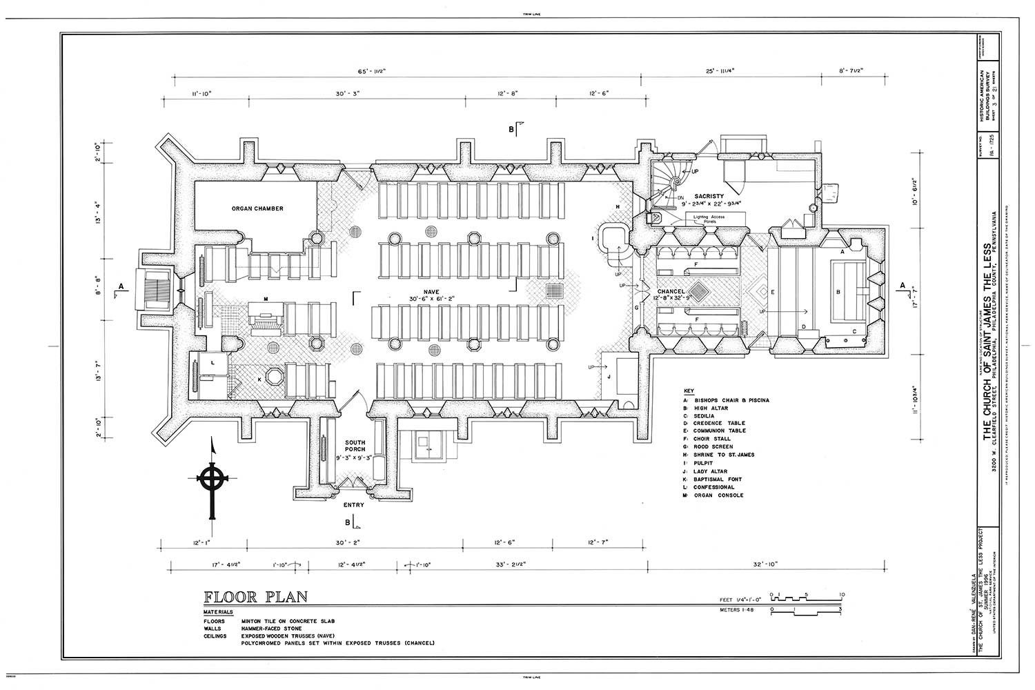 Floor Plan For The Church Of St James Less