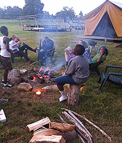 St. James Students around the campfire at Maryland camp