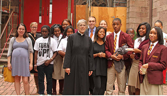 Mother Marie Swayze with students and staff