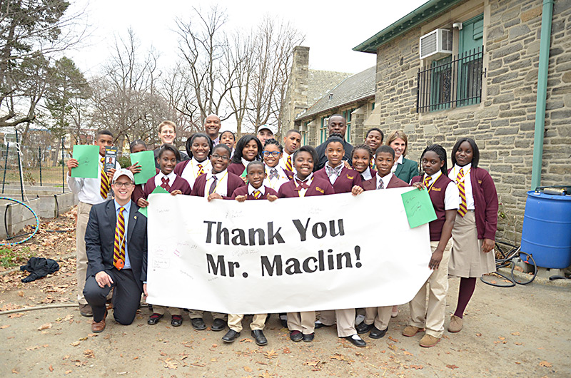 Thank you Mr. Maclin! banner signed by the students