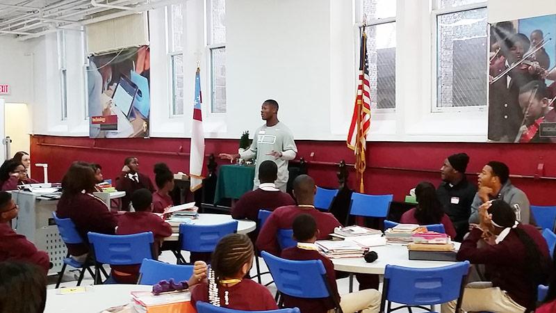 University of Arizona's Will Parks speaks at St. James School