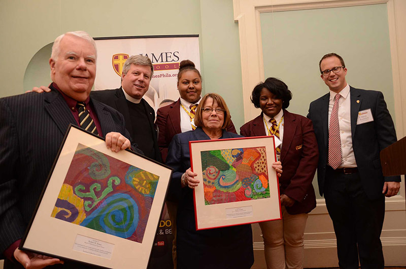 During the Christmas in the City event, Bob Brano and Ronna Tyndall were honored for their tireless support of St. James School