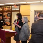 Director of Advancement Angela McCole thanks kitchen sponsors, namely Di Bruno Bros.