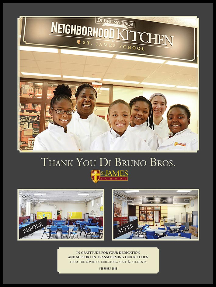 Di Bruno Bros. was presented with this special thank you