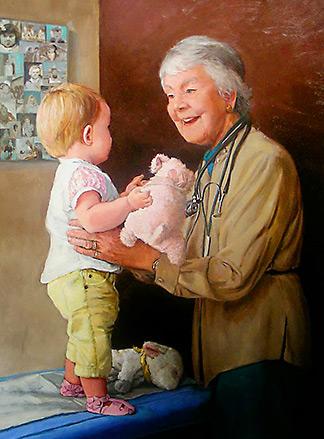Dr. Audrey Evans painting for Children's Hospital of Philadelphia