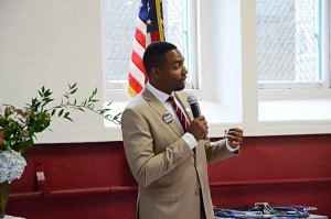 Philadelphia mayoral candidate Doug Oliver speaks to the school body during lunch