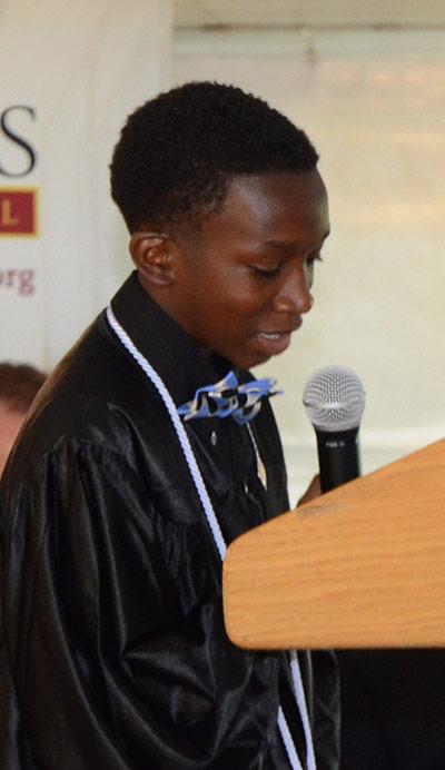Salutatorian Kwymaje Thompson spoke of obstacles.