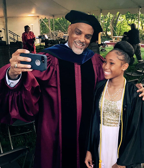 Ainyae poses for a selfie with commencement keynote speaker William Penn Charter Head of School Dr. Darryl Ford, where she began in fall 2015.
