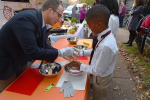 Corey gets help from Head of School David Kasievich
