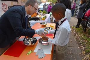 Corey gets help from Head of School David Kasievich